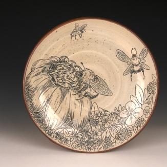 Bee & Flowers Dinner Plate